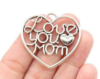 2 Pcs Large Love You Mom Pendants Mom Heart Charms Antique Silver Tone 36x38mm - YD0497