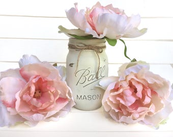 Flower Pen Set - Ivory White Mason Jar with Light Peach Blush Nude Peony Flower Pens Distressed Rustic Shabby Chic Gift for Her
