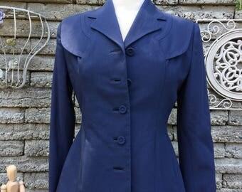 Vintage 1940's Navy Blazer * Size Medium