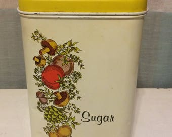 Vintage Cheinco Metal Sugar Canister, Vegetables, Cream and Yellow, Retro Kitchen