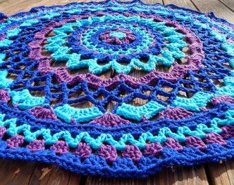 Multicolored Blue Crochet Mandala Wall Hanging, Mandala Tapestry, Boho Decor, Hippie Decor, Mandala Art, Crochet Tapestry, Table Runner,