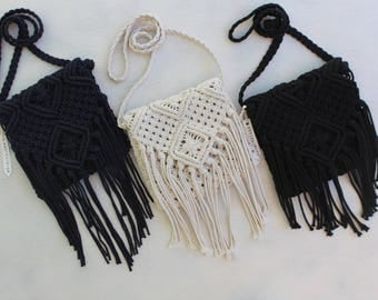 Macrame, Macrame shoulder bag, pouch, cotton, Boho Style shoulder bag.