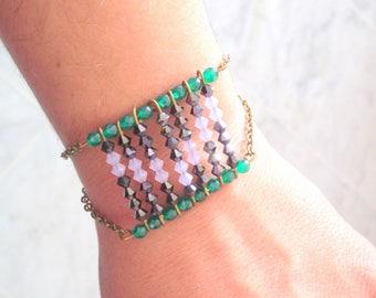 """Bracelet """"Talisman yours"""" black, purple opal and green"""