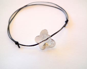 Black thin bracelet and Butterfly Crystal quartz bead