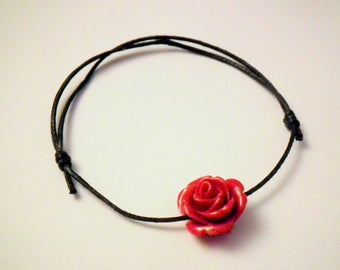 Bracelet black and dark red rose bead