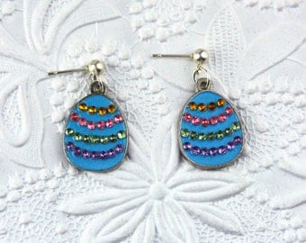 Sparkly Blue Easter Egg Post Earrings with Colored Rhinestones