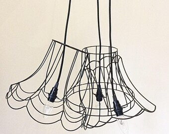 Skeleton frame Light Shade,Wire Pendant light,Triple Pendant Light,Minimalist Decor, Fluted Metal Cage Shade, Wire frame cage lamp,Black