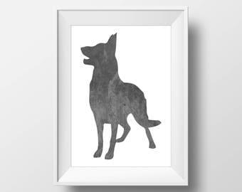Chalkboard German Shepherd Print, German Shepherd Print, German Shepherd art, Dog decor, Dog lover gift, German Shepherd Wall Art