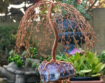 Tree Sculpture on Amethyst Cluster
