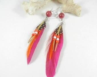 Earrings silver fuchsia, feather dangling earrings, silver jewelry woman, hippie earrings chic, gift woman