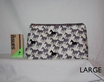 Handmade Horse Lovers Grey & White Large Cosmetic Bag