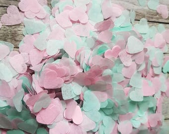 Mint green and Soft Pink  heart confetti mix.Wedding throwing confetti!Table Decoration.Romantic summer.ECO, 5 -120 handfuls, 25gr - 300gr