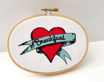 Breakfast Hoop   Kitchen Art   Abstract   Embroidered   Home Art   Wall Art    Cloth and Twig