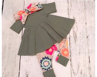 Baby girl dress top , leggings and headband , baby outfit , baby girl fall outfit newborn to 4t size