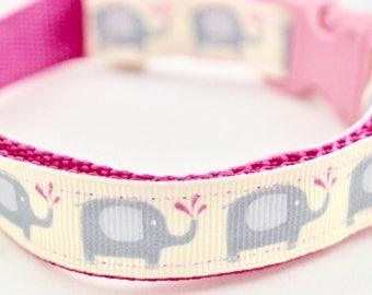 Pink Elephant Design Dog Collar