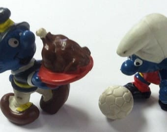 "Vintage Retro 1982 2"" Pilgrim Turkey Soccer Smurf Lot PVC Rubber Figure Peyo Toy"