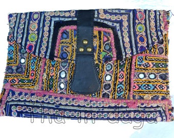 Banjara old Hippie Chic fabric & leather pouch Bohemian India 13 30x20cm