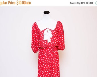 25% OFF Vtg 80s Red White Abstract Peter Pan School Girl Bow Secretary Dress S/M