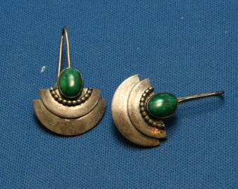 Vintage Sterling Silver Malachite Modernist Dangle Drop Earrings For Pierced Ears