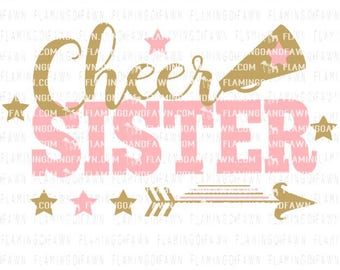 cheerleader svg, cheer svg, cheer sister svg, svg cheer, cheerleading sister svg, cheer leader svg, svg files, pom pom svg, cheer sister dxf
