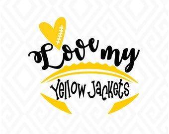 Love my Yellow Jackets; SVG, DXF, Eps, Ai, Png, Jpeg and Pdf Digital Files for Electronic Cutting Machines