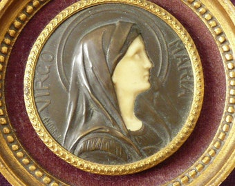 French Vintage Picture of the Virgin Mary, Vintage Religious Plaque, Virgo Maria, French Bronze Plaque, 1920's.