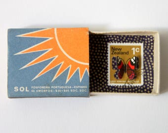 Butterfly illustrated stamp cut by hand in a vintage matchbox,  tiny cabinet of curiosities | Pocket Butterfly #103