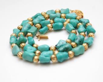 """25"""" VINTAGE CHINESE Turquoise Knuckle Bone Bead Necklace_Fluted Gold Lac Beads"""