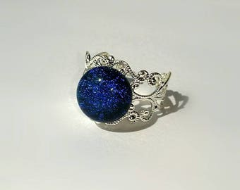 Glass Midnight Sky Adjustable Ring
