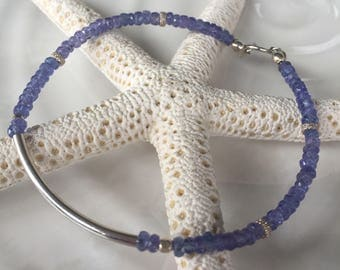 Dainty Faceted Tanzanite and Sterling Silver Tube Beaded Bracelet