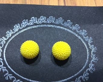 Acrylic Yellow Bubble Stud Earrings