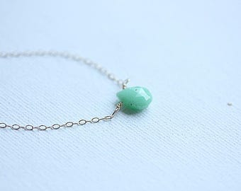 Chrysoprase Necklace,August Birthstone Necklace, Mint Green Gemstone necklace,Chrysoprase jewelry,Green gemstone necklace