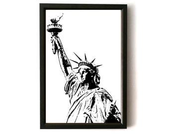 Statue of Liberty, New York, USA, Art , DIGITAL DOWNLOAD Art print, Wall Art, Decor, Cartoon Sketch, Digital Art, Wanderlust, Travel