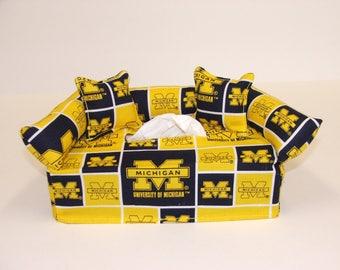 University of Michigan Licensed fabric tissue box cover, Kleenex box cover.