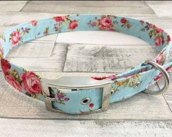 Handmade English rose dog collar with silver metal buckle