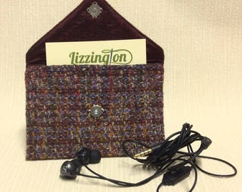 Welsh tweed business card case/headphone case/pouch in mixed purple heather colours