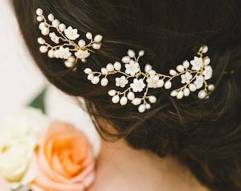 wedding hair pins, pearl hair pins, bridal hair pins, flower hair pins, gold hair pins, floral hair pins - CLAUDETTE (set of 3)