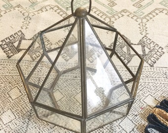 Large Vintage Hanging Terrarium / Brass and Glass