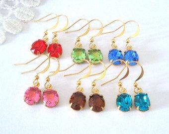 Crystal Birthstone Earrings, Little Jewel Earrings, Simple Dangles, Vintage Rhinestone Jewelry, Gift for Her, Elegant Jewelry