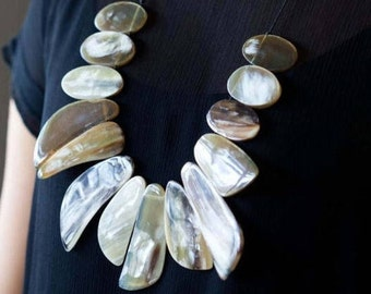 Statement Necklace, Natural Necklace, Bib Necklace, Beaded Necklace, White Jewelry, Buffalo Necklace, Shell Jewelry, Gift For Her