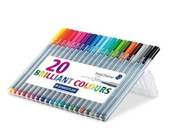 20 STAEDTLER fineliner Triangular fineliner | Set of 20 | Planner Pens | Drawing Pens | Gel Pens | colours | Scrapbooking | card making