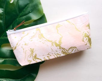 Pink and Gold Marble Zipper Pouch