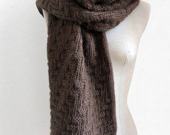 Large knit Brown wool jacquard geometric patterned scarf.