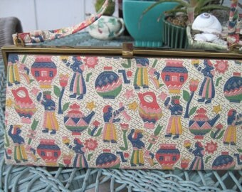 Fun Fabric Purse Colorful Print 1960s