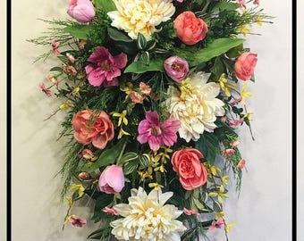 Spring Door Swag, Spring Decor, Floral Swags, Door Swag, Spring Door Decor, Front Door Wreaths, Spring Wreath, Tulip Wreath, Floral Decor