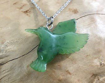 Canadian Nephrite Jade Hummingbird Pendant - Jade Necklace - Green Jade - Natural Jade