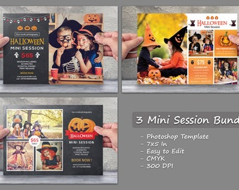 Halloween Mini Session Template | 3 mini session bundle, photography marketing board | Photoshop & Elements template | instant download