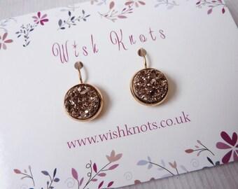 Rose Gold Druzy Earrings / Leverback Earrings / Drop Earrings / Druzy Earrings / Faux Druzy / White Earrings / Sparkle / Gift / Wish Knots