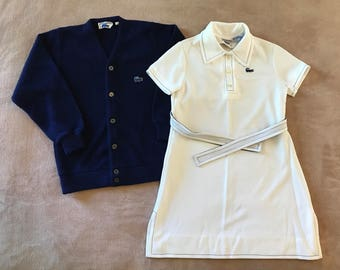 Kids Girls Vintage Chemise Lacoste Sweater and Dress, White Chemise Lacoste Dress Size 10, Blue Chemise Lacoste Cardigan Sweater Size 14