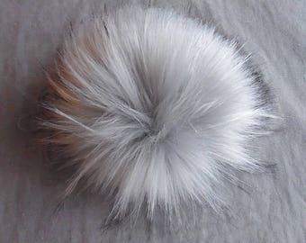Size L (light grey) faux fur pom pom 6 inches/ 15cm